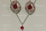 Parure cialde caffè e rose in fimo e perle di vetro rosse
