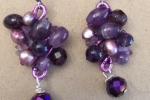 Parure collana e orecchini con cristalli viola
