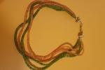 Parure Collana e orecchini Corniola e Ametista verde.