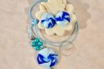 Parure collana e orecchini fimo Blu e azzurro mare