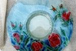 Piatto in vetro tecnica vetrofusione artistica
