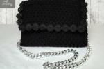 Pochette nera a maglia con fiori
