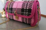 Pochette in cordino Swan rosa, ciclamino
