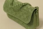 Pochette verde in cordino su rete canvas chiusura calamitata