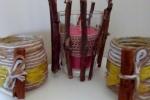 Porta candele fatti a mano con bastoncini di legno