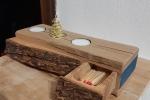 Porta candele in legno massello con cassettino porta fiammiferi