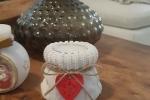 Porta candele in polvere di ceramica trama maglioncino