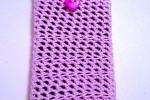 Portacellulare iphone rosa e grigio, fatto a mano