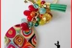 Portachiavi dorato con pendente in legno Kandinskij e charm