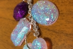 Portachiavi in resina con diversi glitter colorati