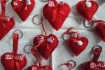 Portachiavi in stoffa a forma di cuore