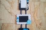 3 portafotografie tema marino in feltro toni azzurro