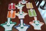 Presine a uncinetto vari colori a forma di cestino e maglie