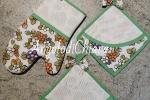 Presine e guanto forno fiori bordo verde