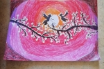 Quadro realizzato con i pastelli a cera Love birds