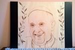 Quadro Papa Francesco su base lignea