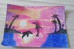 """Quadro realizzato con i pastelli a cera """"tramonto rosa"""""""