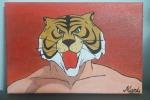 Quadro uomo tigre dipinto a mano su tela