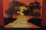Quadro dipinto su tela con palme