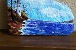 Sasso dipinto a mano marina con faro