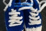 Scarpette handmade a crochet blu e bianche