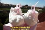 Scarpine a crochet panna e nastrino rosa