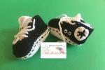 Scarpine bimba / bimbo, 0-3 mesi, cotone, bianco- nero