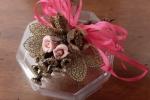 Scatolina ottagonale con la tecnica Biedermeier - rosa
