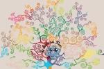 Schema punto croce Albero della Vita Multicolor