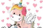 Schema unicorno per copertina o fiocco nascita femminuccia
