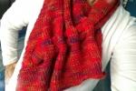 Sciarpa rossa in lana Merinos e Angora