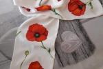 Sciarpine misto seta dipinte a mano con fiori rossi