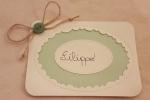 Segnaposto in cartoncino verde salvia e avorio