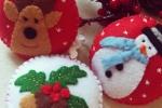 Set 3 palline natalizie in pannolenci