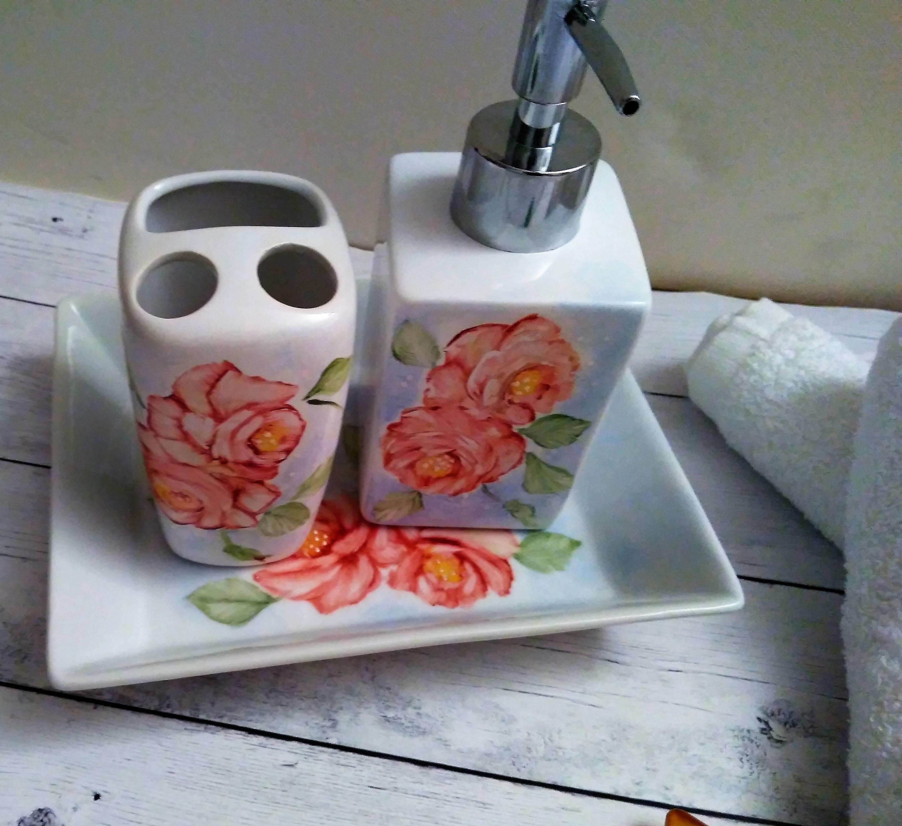 Set Da Bagno Prezzi.Creazioni Altro Set Da Bagno Con Rose Arancioni