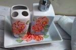 Set da bagno con rose arancioni,composto 3 pezzi