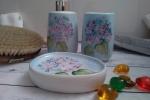 Set da bagno dipinto a mano con soggetto ortensie