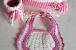 Set nascita bavaglino con cestini rosa