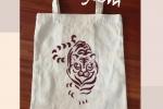 Shopper bag artigianale con riproduzione di una tigre