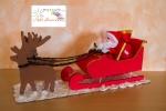 Slitta Babbo Natale, completa di babbo natale e sacco