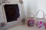 Specchio e vaso in corda di cotone