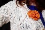 Spilla per abiti Fiorefermaglio in cotone arancione