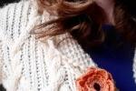 Spilla per abiti Fiorefermaglio in cotone color rosa pesca