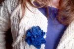 Spilla per abiti Fiorefermaglio in cotone colore blu
