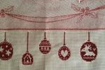Strofinaccio di cotone lurex con soggetto natalizio e ricamo con palline rosse