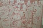 Strofinaccio di cotone lurex con ricamo con scritta rossa Buon Natale