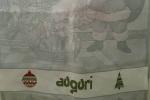 Strofinaccio di cotone lurex  con soggetto natalizio con  scritta auguri