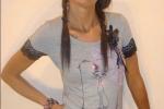 T-shirt in cotone con gatto e pizzi: maglietta donna