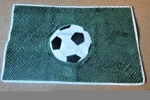 Tappeto campo di calcio con pallone della squadra del cuore