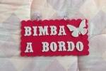 Targa auto in feltro Bimbo/a a bordo con farfalla